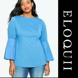 ELOQUII | Blue Pleated Sleeve Top